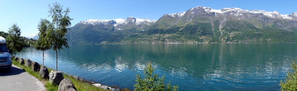 23.06.2010, Norwegen, Hardangerfjord, Rastplatz mit Aussicht, in der Nähe von Lofthus